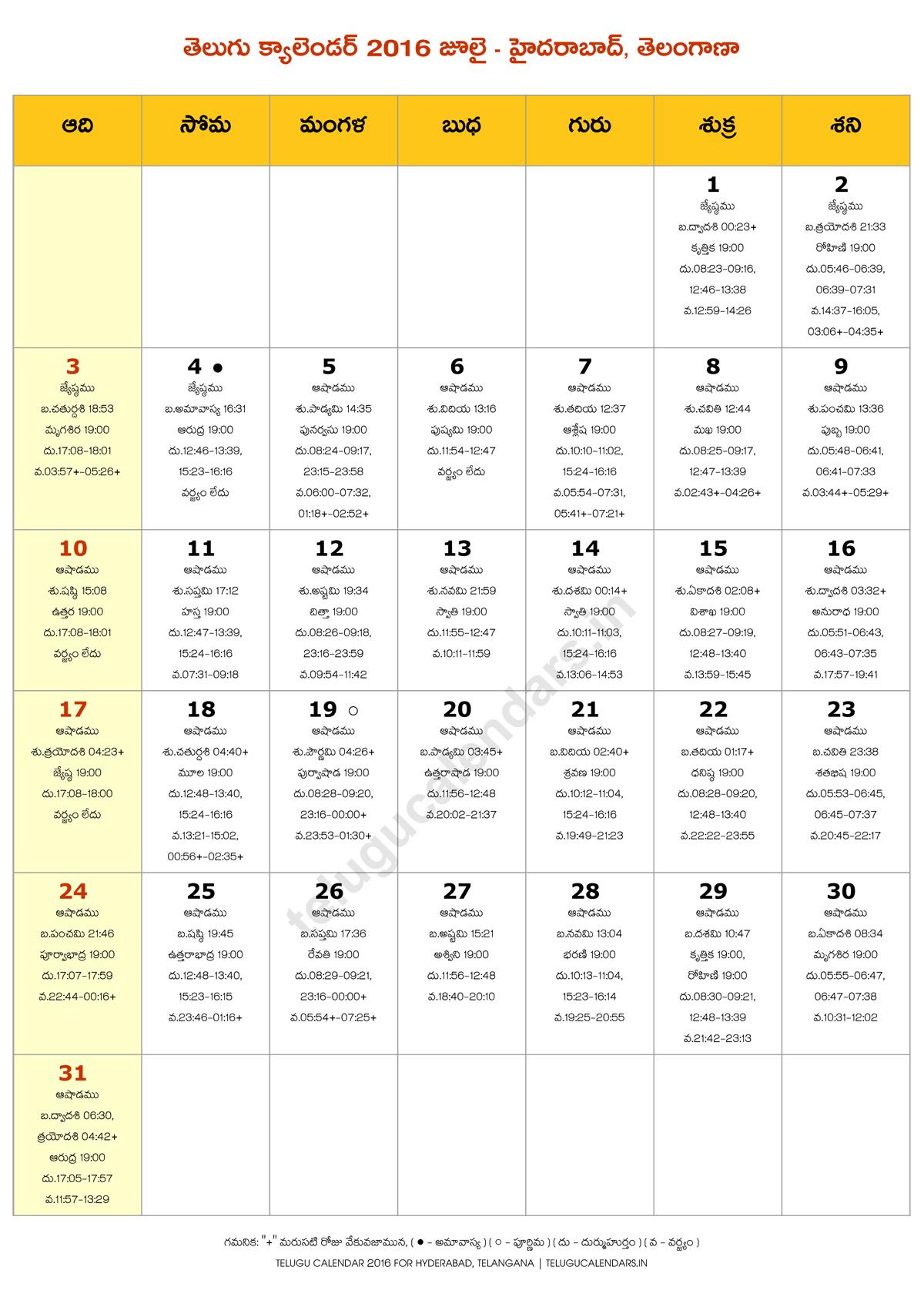 Telugu Calendar (Hyderabad, Telangana, India) 2016 July PDF | Telugu ...