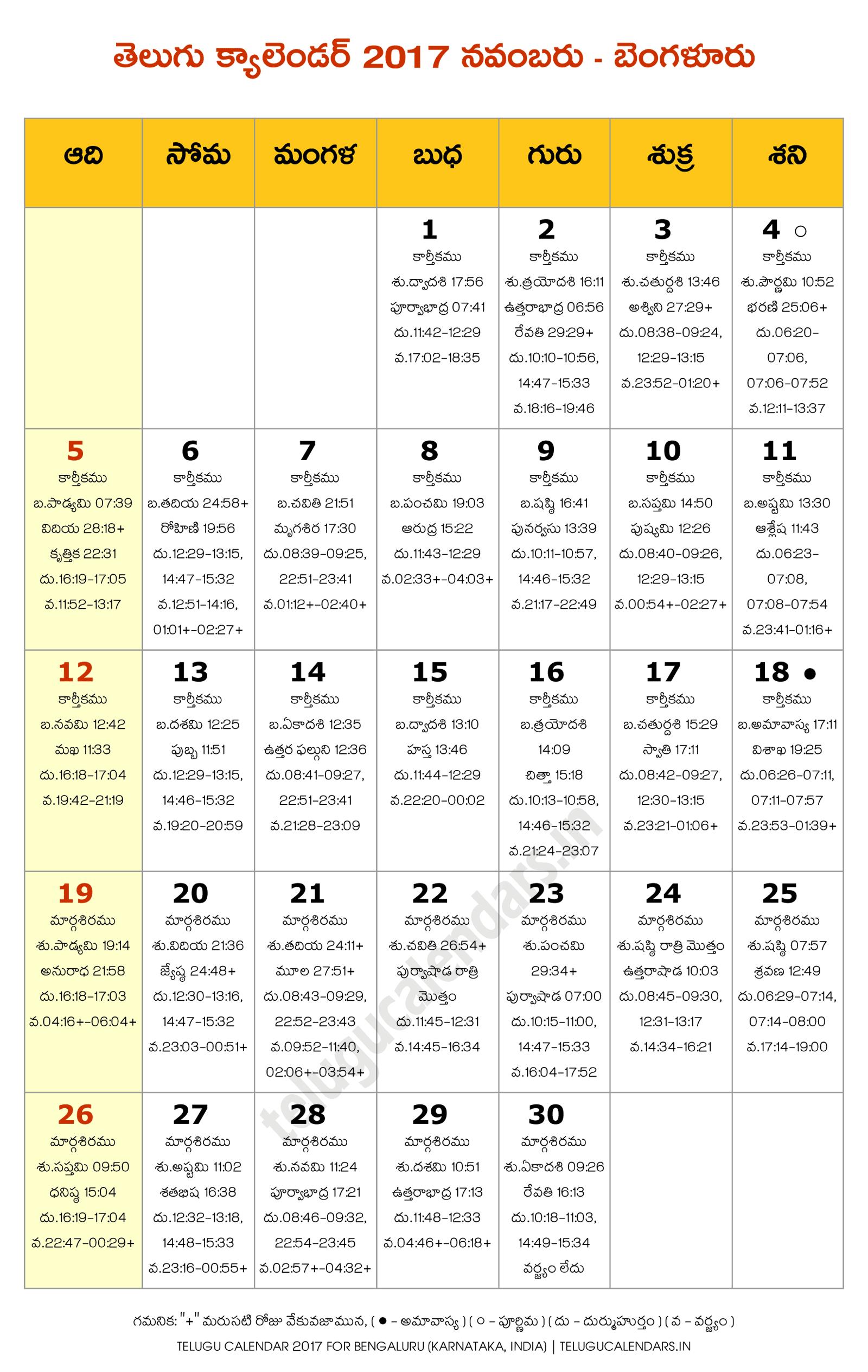 Calendar Karnataka : Bengaluru november telugu calendar calendars