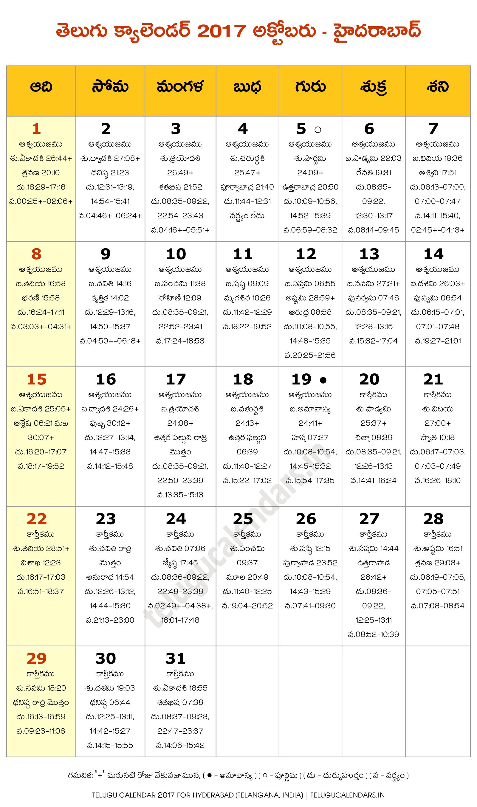 hyderabad 2017 october telugu calendar telugu calendars