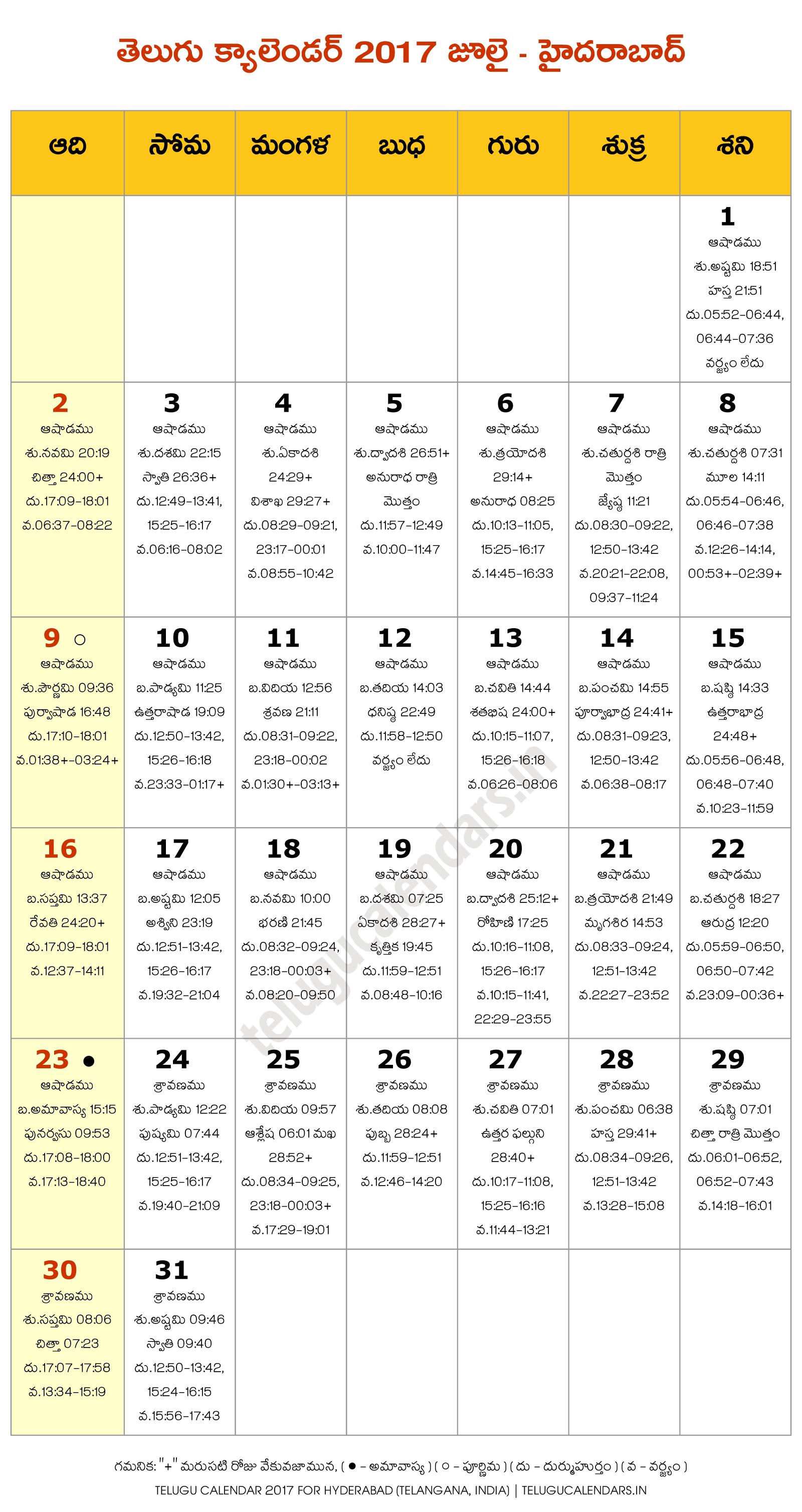 Hyderabad 2017 July Telugu Calendar | Telugu Calendars