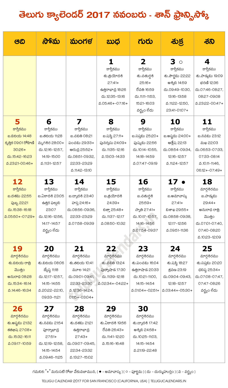 november 2017 telugu calendar san francisco