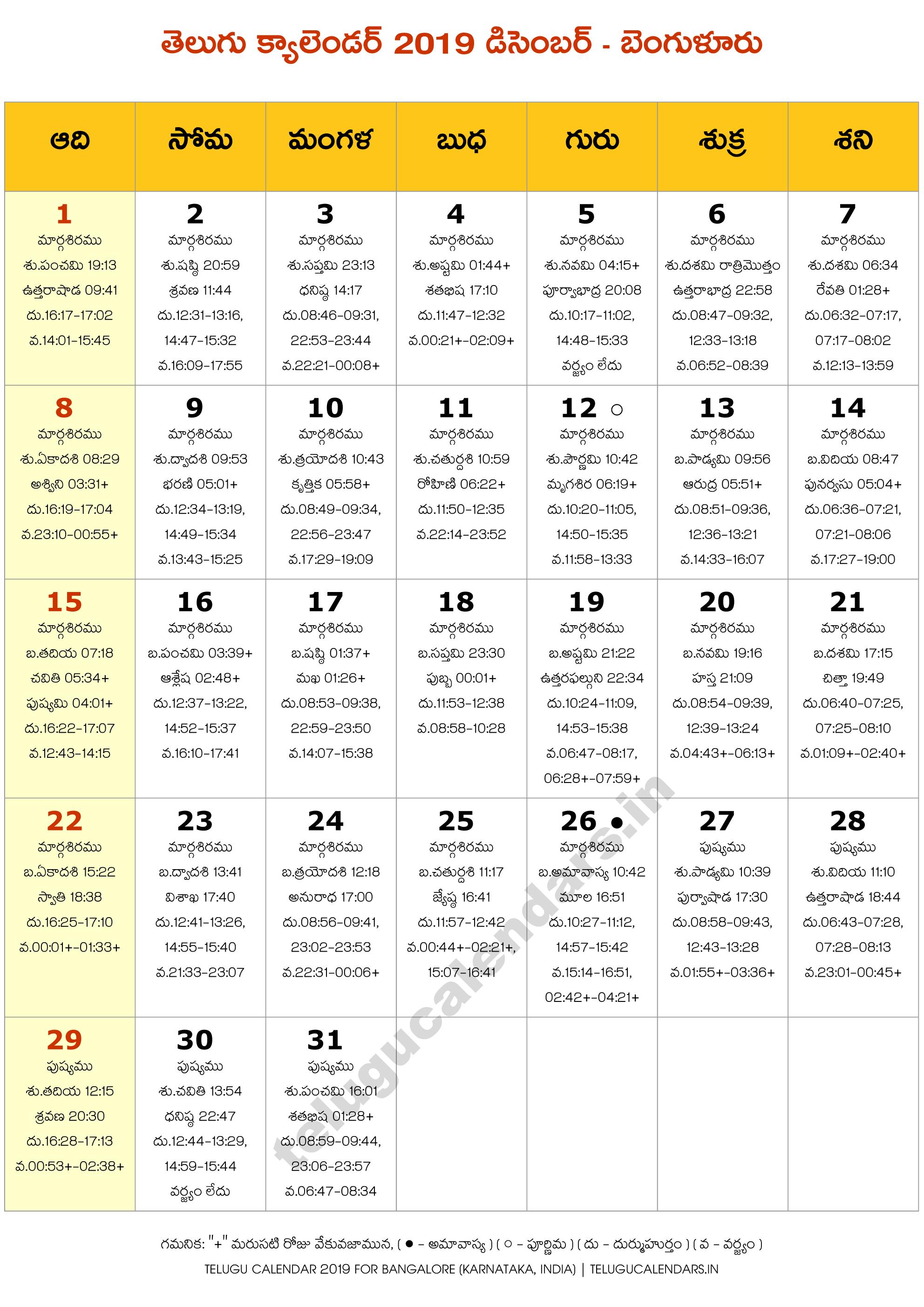 Bengaluru 2019 December Telugu Calendar | Telugu Calendars