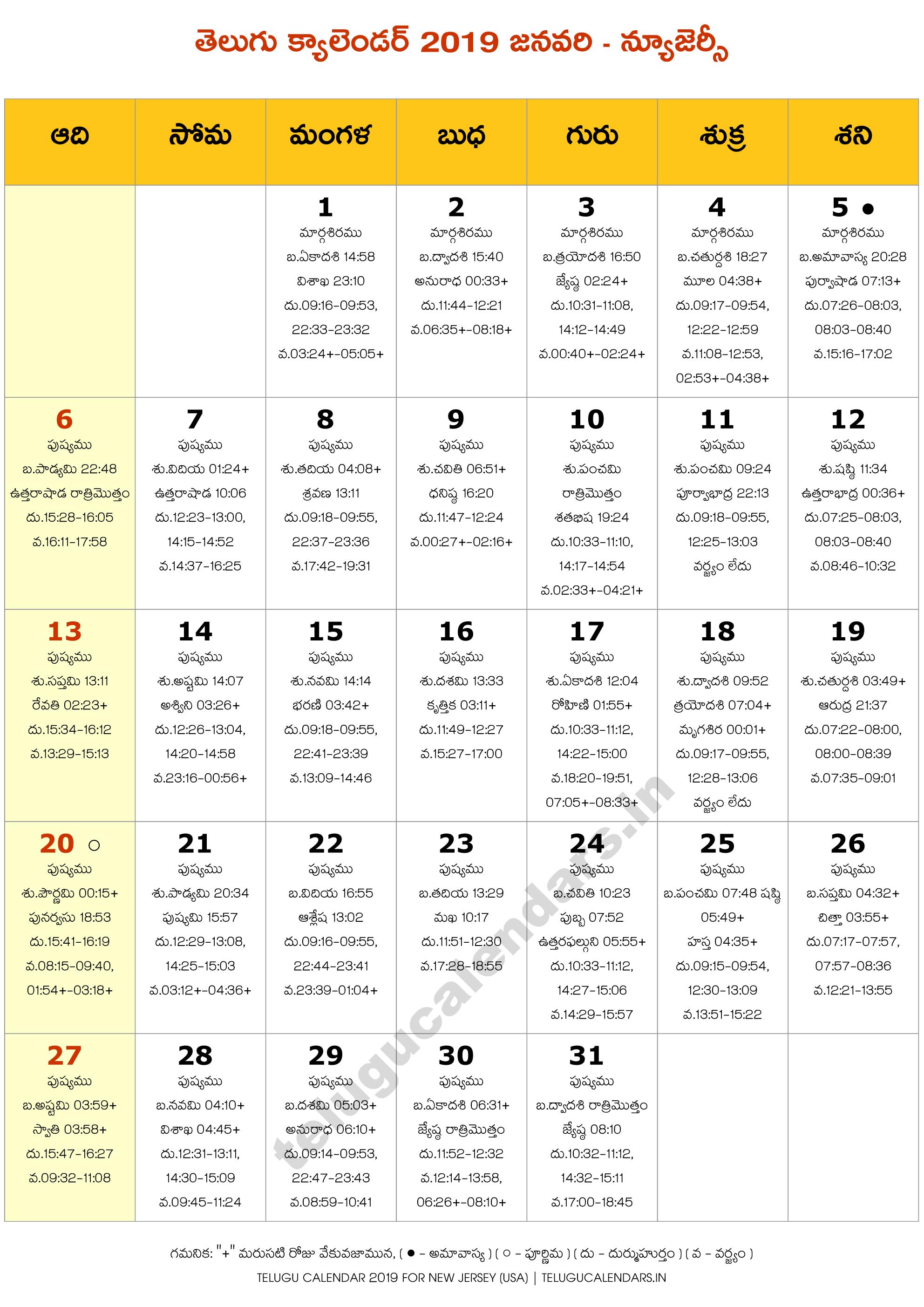 New Jersey 2019 January Telugu Calendar | Telugu Calendars