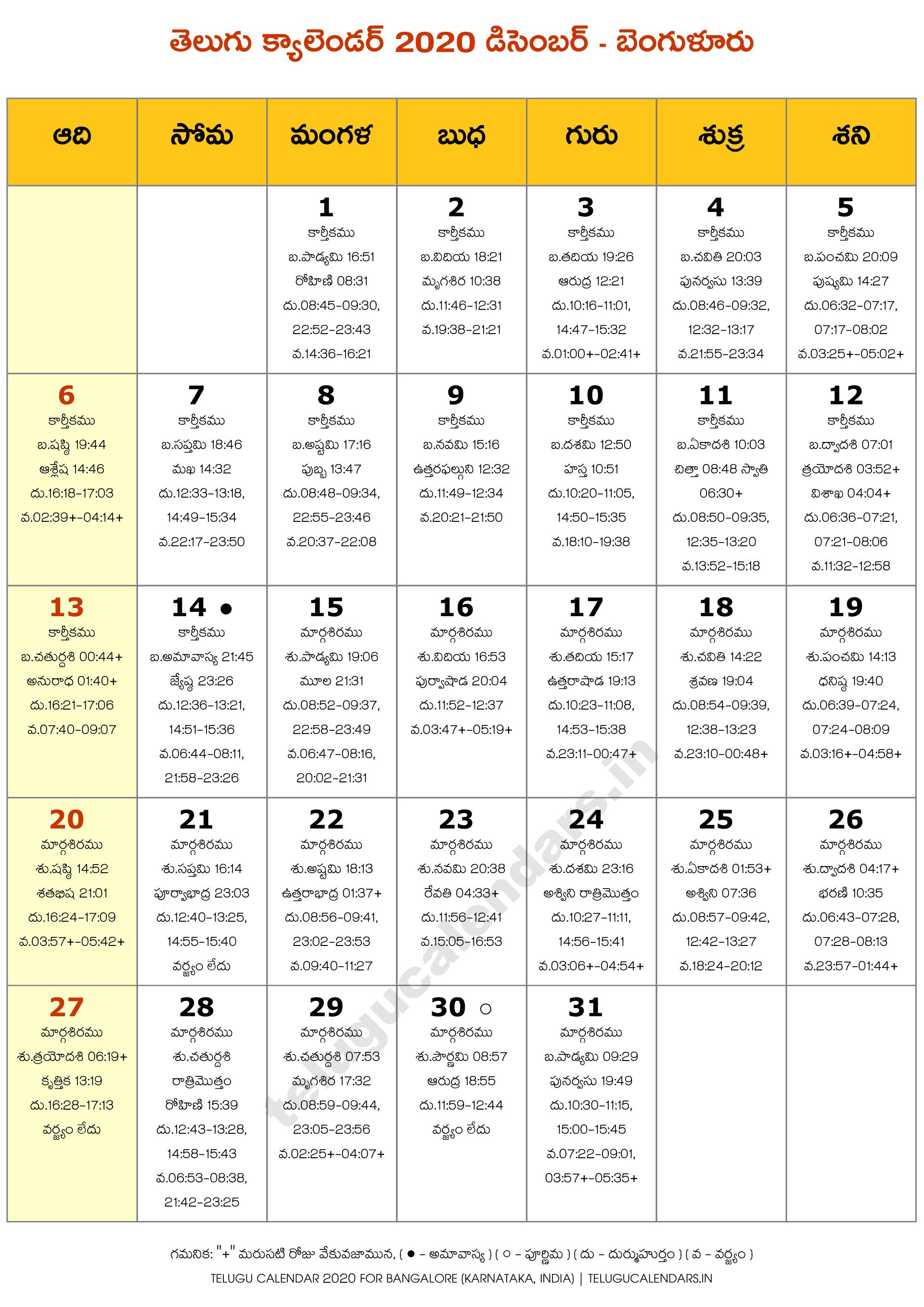 Bengaluru 2020 December Telugu Calendar | Telugu Calendars