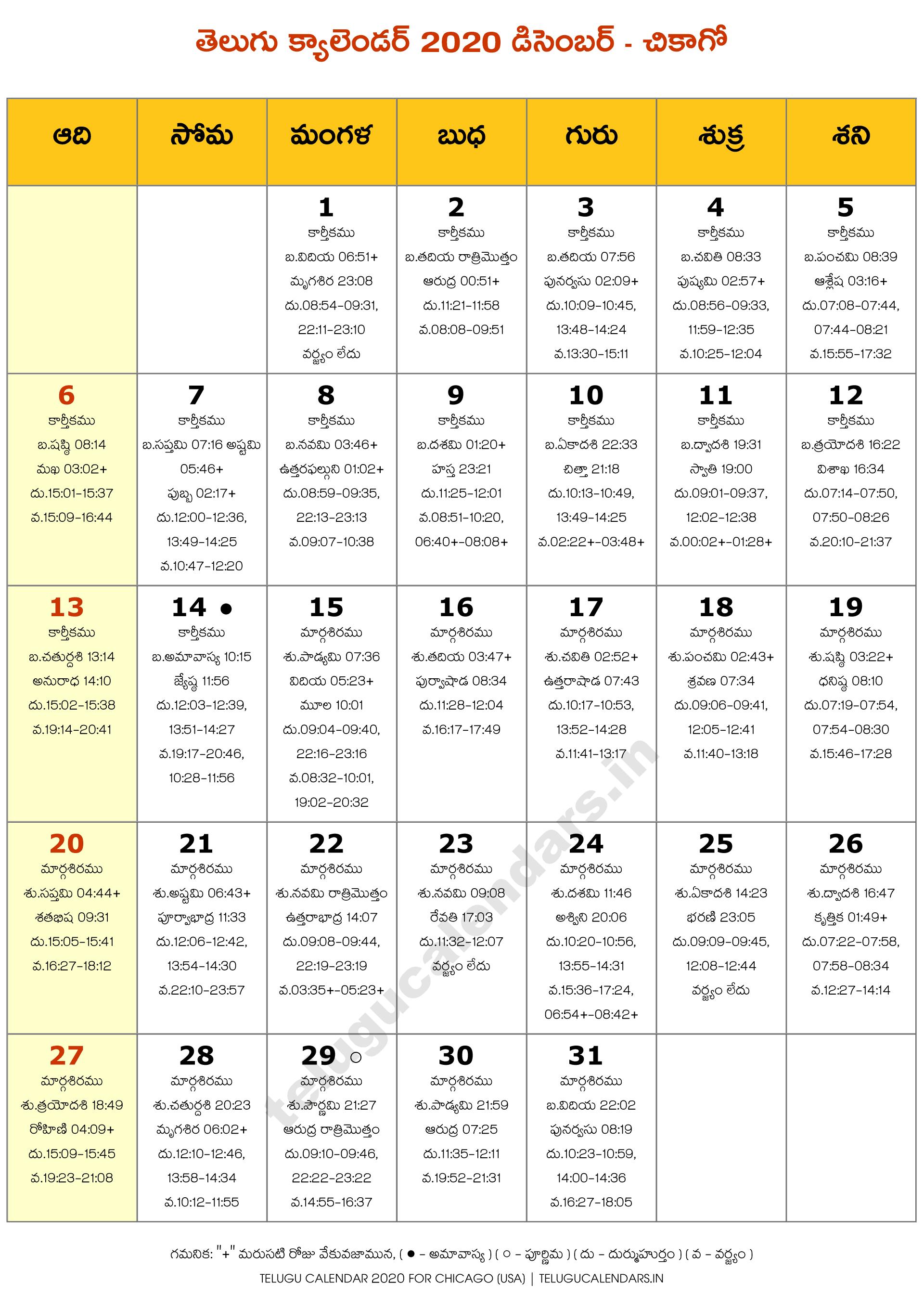Chicago 2020 December Telugu Calendar | Telugu Calendars