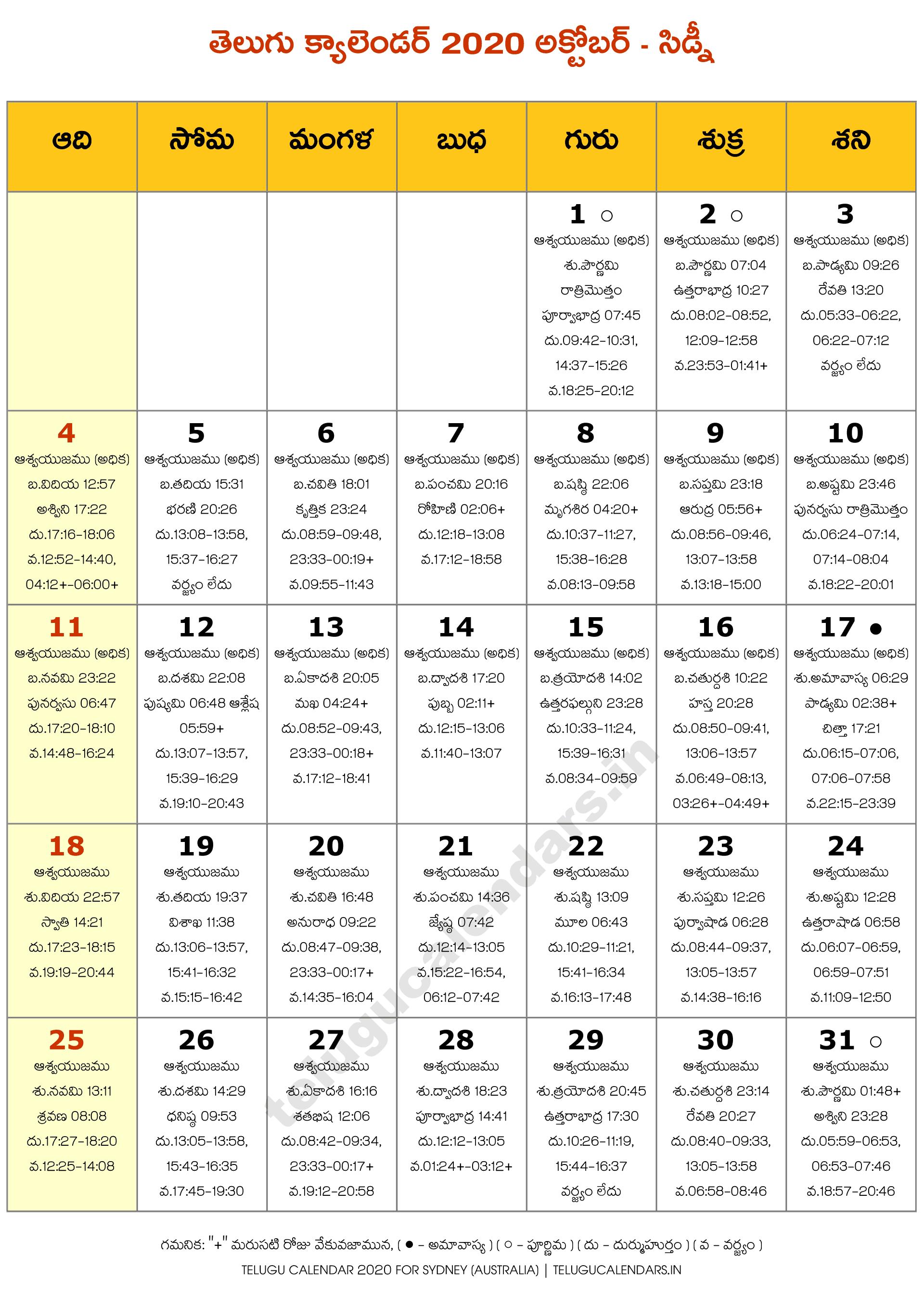 Telugu Calendar 2022 New York.Sydney 2020 October Telugu Calendar Telugu Calendars