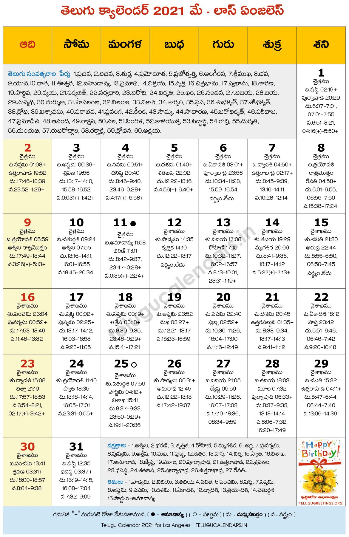 Los Angeles 2021 May Telugu Calendar | Telugu Calendars